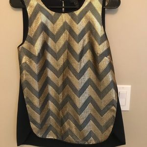 J Crew Gold and Navy Tank